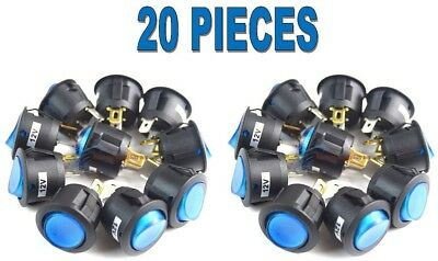 20 Pieces Round Toggle Switch With Blue Color Led 12 Volt Car Lighting New