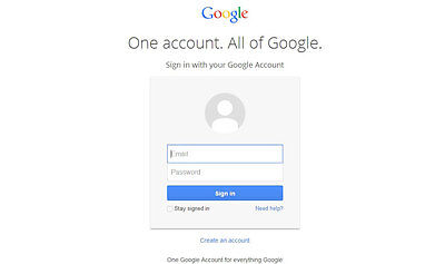 Google Account Log-in/Create Account Page