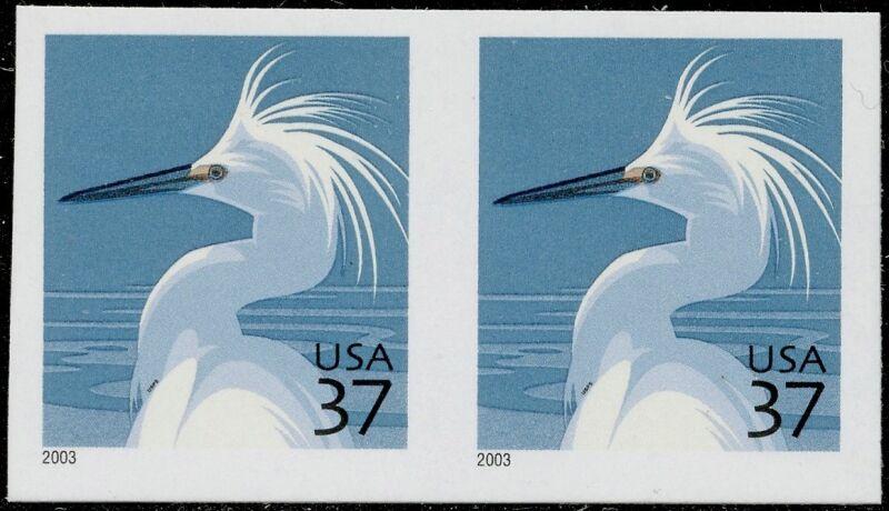 """#3830df Pair """"snowy Egret"""" Die Cutting Omitted Major Error W/ Aps Cert Bq4043"""
