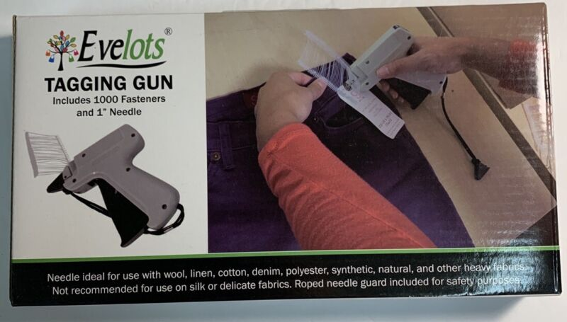 "Evelots Tagging Gun With 1000 Fasteners & 1"" Needle New In Box"
