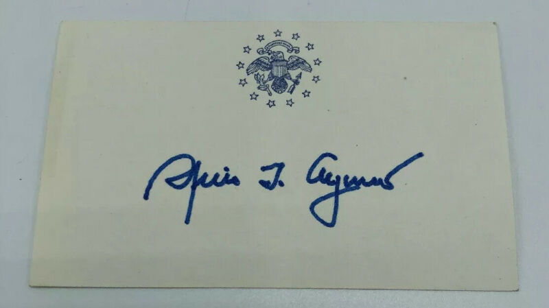 SPIROW AGNEW AUTOGRAPH - 39th Vice President Signed Card Auto