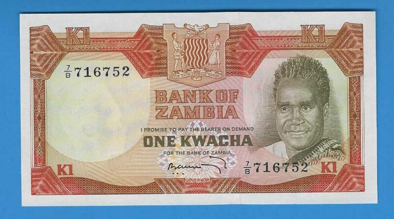 1972 Zambia 1 One Kwacha Note CU UNC World Currency Banknote Africa