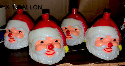 4 Vintage Santa Claus Hard Plastic Christmas Light Clip-on Covers Blow Mold