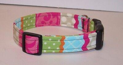 Wet Nose Designs Colorful Stripes Dog Collar Polka Dots Pink Blue Green