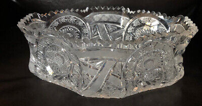 Vintage American Brilliant Crystal Extra Large Centerpiece Bowl Stunning Heavy!