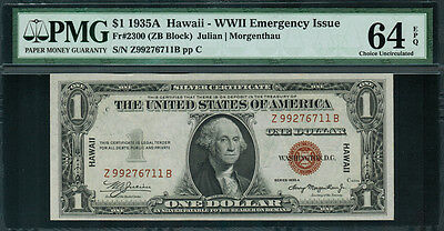 1935A  1 Hawaii Wwii Emergency Issue Fr 2300 Z B Block   Pmg 64 Epq   Rare
