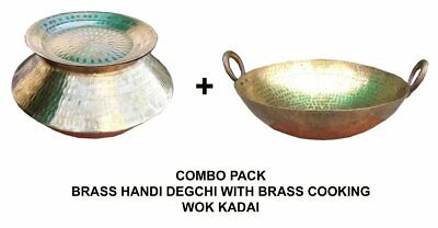 Combo Pack Hammered Brass Handi Degchi Cooking Pot & Lid With Brass Wok Kadai (Lid Combo Pack)
