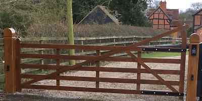 5 bar estate gate made in aluminium field gate farm gate, wood effect posts.