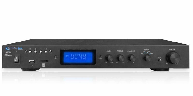 Technical Pro IA25U 600 Watt 2 Channel Integrated Receiver Amplifier w/ USB/SD