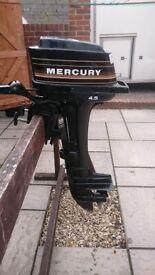 MERCURY 4.5HP 2 STROKE OUTBOARD FOR DINGHY TENDER RIB BOAT
