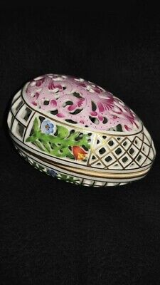 Herend reticulated egg Porcelain, 24 kt gold trim