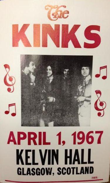 Kinks Live Kelvin Hall 1967 Concert Poster Ray & Dave Davies