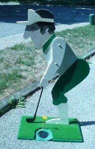 Wooden Golfer Statue