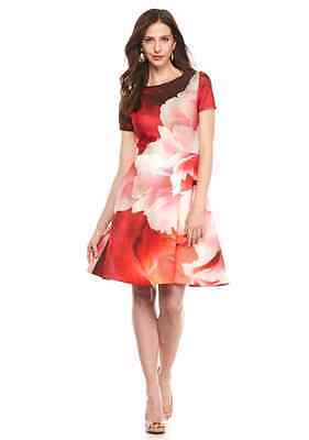 NWT Julia Jordan Fit Flare Pink floral rose cocktail occasion SCUBA dress 10