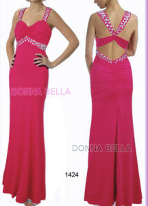 Sz Donna Bella Embellished Bridesmaid Party Evening Long Maxi Fuchsia Dress