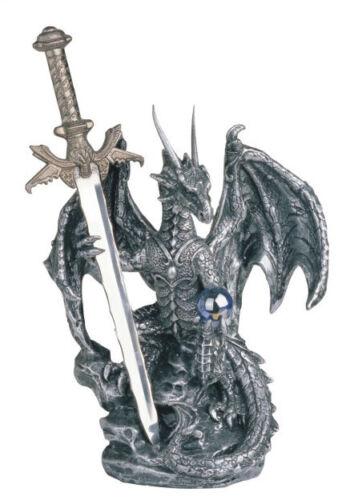 6 1/2 INCH SILVER DRAGON AND SWORD FIGURINE