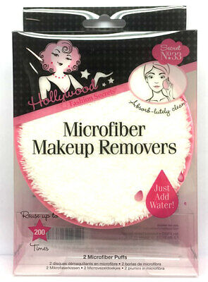 Hollywood Fashion Secrets Microfiber Makeup Removers - 2 Puffs/Pack