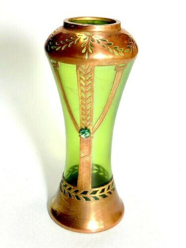 Loetz Secessionist Vase with Copper Overlay