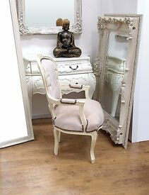 French Louis Chair In Cream Velvet With Cream Wooden Frame