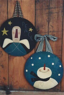 PATTERN Snowman & Angel Wool Felt Christmas Tree Ornaments UNCUT OOP Homebodies Felt Ornaments Patterns