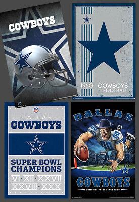 New DALLAS COWBOYS 4-POSTER Theme Art Team Logo Style Posters Combo Set - Dallas Cowboys Theme