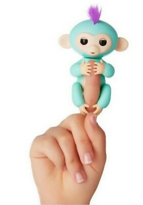 Wowwee Fingerlings Interactive Baby Monkey Toy Zoe  Turquoise With Purple Hair