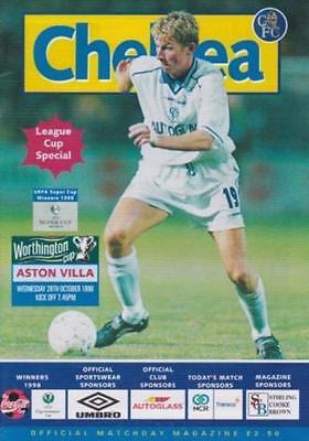 JOHN TERRY DEBUT FOR CHELSEA - OFFICIAL PROGRAMME v ASTON VILLA 1998 LEAGUE CUP