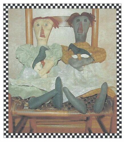 PATTERN Primitive Raggedy Ann Dolls w/ Crow Makedo UNCUT OOP Hootin Annies RARE