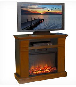 Wood Electric Fireplace Heater Media Console Stand Home Tv Entertainment Center