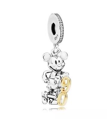 🇬🇧💜💜925 STERLING SILVER DISNEY MICKEY MOUSE 90th BIRTHDAY CHARM & POUCH