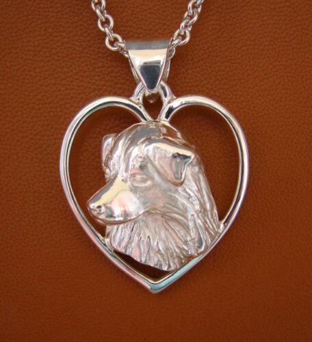 Large Sterling Silver Australian Shepherd Head Study On A Free-Form Heart Frame