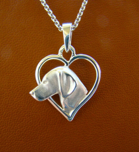Small Sterling Silver Vizsla On A Heart Pendant