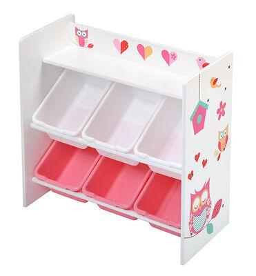 4Uniq Kinderregal + Box Eule Kinderholzregal Bücherregal Regal Spielzeugregal