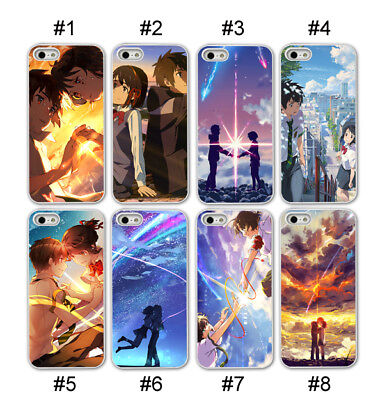Your Name Movie Anime Phone case for IPhone X SE 5S 6 7 8 Plus Black Silicone (Black Silicone Case Film)