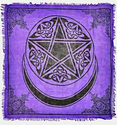 "NEW Moon Pentacle on Purple Altar Cloth 36""x 36"""