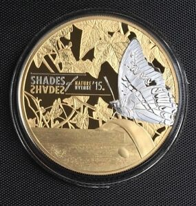COOK ISLANDS 2015 $5 SHADES OF NATURE - BUTTERFLY SILVER PROOF