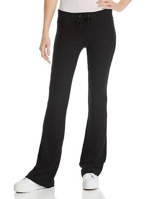 ($190 WILD FOX WOMEN'S BLACK WIDE LEG FLARED JOGGER GYM CASUAL SWEATPANTS SIZE L)