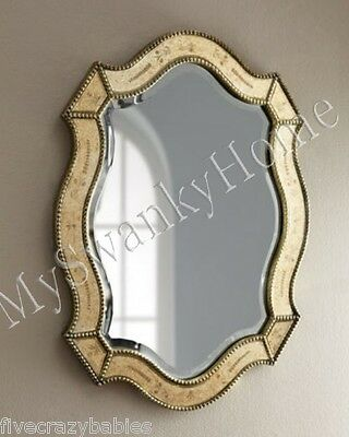 "NEIMAN MARCUS 28"" Victorian Venetian Etched Vanity Wall Mirror Antique Romantic"