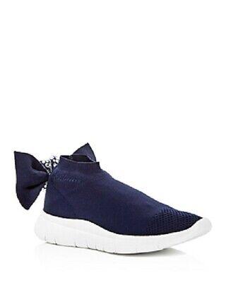 Joshua Sanders Women's Embellished Knot Slip-on Wedge Sneakers, Navy, 7.5