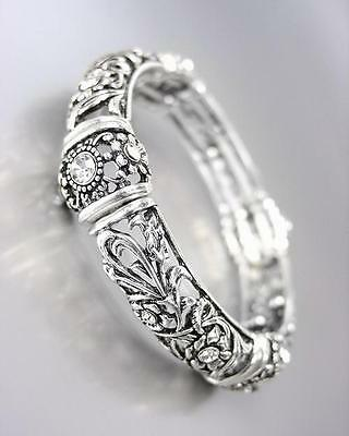 NEW Designer Antique Silver Floral Filigree CZ Crystals Stre