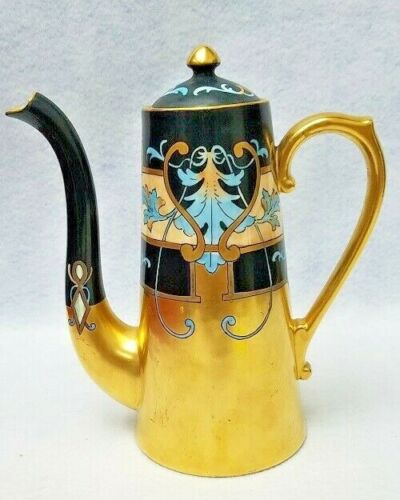 PICKARD china Limoges Hand Painted 1903 coffee pot 4 cup HESSLER MODERN