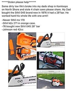 4 STOLEN CHAINSAWS