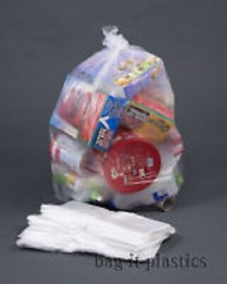 10 CLEAR RECYCLING BAGS SACKS REFUSE RUBBISH 140 gauge