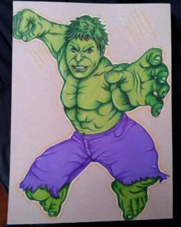 Hand drawn illustration artwork Hulk framed with glass
