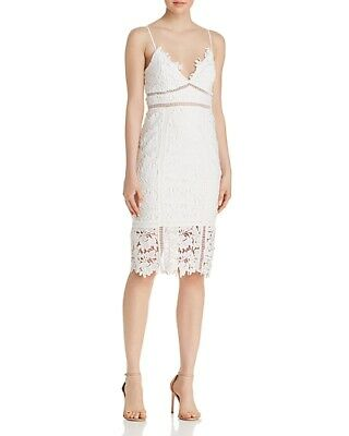$520 BARDOT WOMEN'S WHITE V-NECK SLEEVELESS FLORAL LATTICE TRIM DRESS SIZE 4/XS