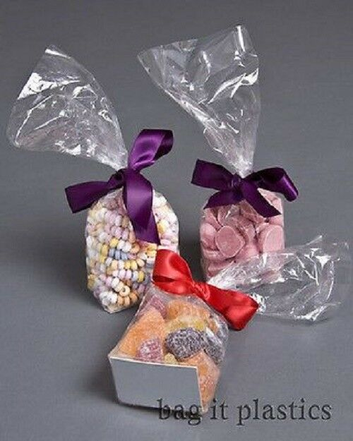 CELLOPHANE CLEAR BLOCK BOTTOM + CARD BASE CELLO SWEET CANDY BAGS BAG FOOD SAFE