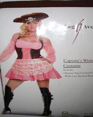 Pink & Brown Pirate Wench Corset Costume Dress Set ML Leg Avenue - Wench Kostüm Set