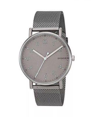 Skagen Signature Grey Dial Men's Mesh Watch Style SKW6354 NWT MSRP $165