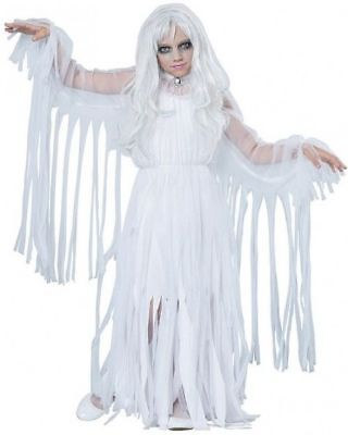 Little Girls Ghost Costume Scary Halloween Ghoul Size Small White Kids Costumes - Little Girl Scary Halloween Costumes