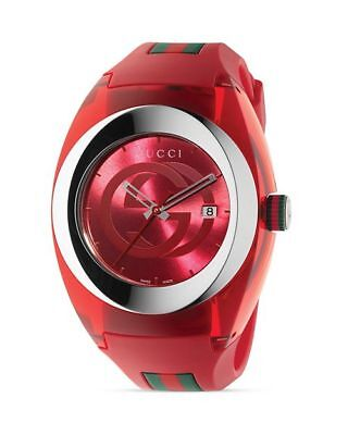 Gucci Sync YA137103 Red Rubber Unisex Swiss Watch Retail $495.00